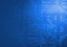 Símbolo de moneda en el azul brillante para el fondo financiero ilustración del vector