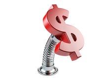 Símbolo de moneda rojo del dólar en una primavera Imagen de archivo libre de regalías