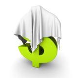 Símbolo de moneda verde del dólar debajo del paño blanco Imagenes de archivo