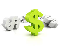 Símbolo de moneda verde grande del dólar hacia fuera de blancos Imagen de archivo libre de regalías