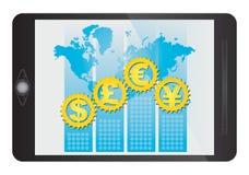 Símbolo de monedas importante en la tableta Fotografía de archivo libre de regalías