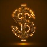 Símbolo de néon do dólar Placa de circuito Imagem de Stock