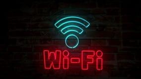 Símbolo de néon de Wi-Fi na parede de tijolo ilustração do vetor