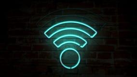 Símbolo de néon de Wi-Fi na parede de tijolo ilustração stock