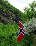 Símbolo de Noruega Bandeira norueguesa no fundo da natureza imagens de stock royalty free