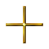 símbolo de oro de la adición 3D Imagen de archivo libre de regalías