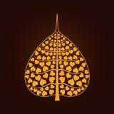 Símbolo de oro de la hoja de Bodhi en estilo tailandés del arte Fotografía de archivo