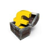Símbolo de oro de la libra esterlina en el cofre del tesoro, representación 3D Fotos de archivo libres de regalías