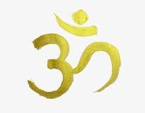 Símbolo de oro de OM en la religión hindú imagen de archivo