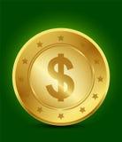 Símbolo de oro del dólar Fotografía de archivo