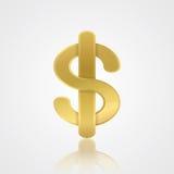 Símbolo de oro del dólar con la reflexión Moneda de USD Ilustración del vector Foto de archivo libre de regalías