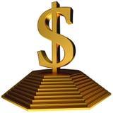 Símbolo de oro del dólar de la pirámide y del oro Fotos de archivo libres de regalías