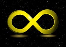 Símbolo de oro del infinito Foto de archivo libre de regalías