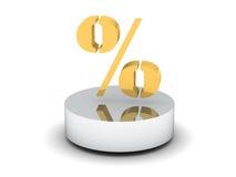 Símbolo de oro del porcentaje Imagen de archivo libre de regalías