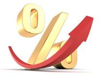 Símbolo de oro del porcentaje con la flecha roja para arriba Fotos de archivo libres de regalías