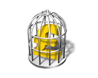 Símbolo de oro en la jaula de plata, de la libra ejemplo 3D Fotografía de archivo