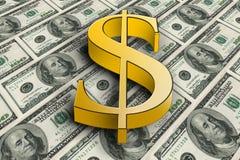 Símbolo de oro grande del dólar 3d en billetes de banco Libre Illustration