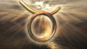 Símbolo de oro místico animado del tauro del horóscopo del zodiaco 3D que rinde 4k stock de ilustración