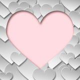 Símbolo de papel abstracto del corazón del amor de la tarjeta del día de San Valentín Fotografía de archivo libre de regalías