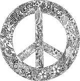 Símbolo de PAZ blanco y negro Imagenes de archivo