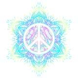 Símbolo de paz sobre a pancadinha redonda da mandala ornamentado decorativa do fundo ilustração do vetor