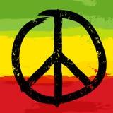 Símbolo de paz y colores rastafarian en fondo, Fotografía de archivo libre de regalías