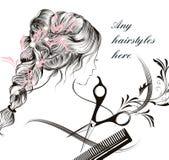 Símbolo de pelo largo joven hermoso del peine y de las tijeras de la muchacha de la ha libre illustration
