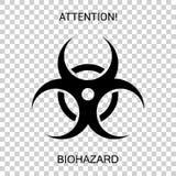 Símbolo de perigoso biológico em um fundo transparente fotos de stock