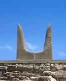 Símbolo de piedra de los claxones sagrados de Minotaur foto de archivo