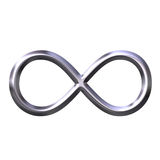 símbolo de plata del infinito 3D imagen de archivo