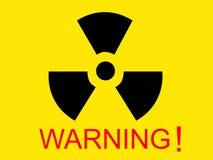 Símbolo de rádio médico amarelo com palavra de advertência Fotos de Stock Royalty Free