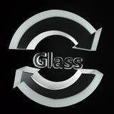 Símbolo de reciclaje de cristal claro imagenes de archivo