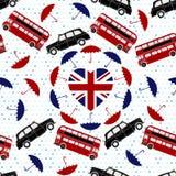 Símbolo de Reino Unido del amor Bandera del corazón, autobús de dos pisos, Londres TA ilustración del vector