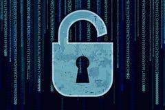 Símbolo de Rotection de la cerradura con un ojo de la cerradura en un fondo del código binario Foto de archivo libre de regalías