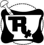 Símbolo de RX en el mortero Fotos de archivo libres de regalías