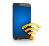 Símbolo de Smartphone y del wifi Fotografía de archivo libre de regalías