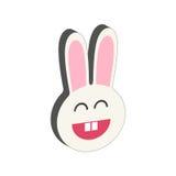 Símbolo de sorriso do coelho Ícone ou logotipo isométrico liso Fotos de Stock