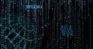 Símbolo de Steem que brilla intensamente contra símbolos descendentes del código binario libre illustration