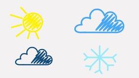 Símbolo de tempo que está sendo tirado no fundo branco Sun, nuvem, chuva, floco de neve ilustração stock