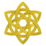 Símbolo de Triquetra del oro de la trinidad del doble del nudo de la flor del oro Imagen de archivo libre de regalías