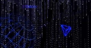 Símbolo de Tron que brilla intensamente TRX contra los símbolos descendentes del código binario stock de ilustración