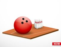 Símbolo de un juego y de un campo de los bolos. Foto de archivo