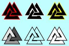 Símbolo de Valknut, logotipo del triángulo, Fotos de archivo libres de regalías