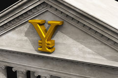 Símbolo de Yuan no banco Imagens de Stock Royalty Free