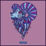 Símbolo decorativo decorativo do ano novo/carneiros/cabra ilustração do vetor