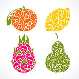 Símbolo decorativo decorativo do fruto Fotos de Stock