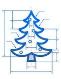 Símbolo del árbol de navidad con las líneas de dimensión Fotos de archivo
