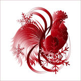 Símbolo del Año Nuevo - un gallo y copos de nieve Fotografía de archivo libre de regalías