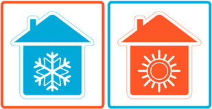 Símbolo del aire acondicionado - caliente y frío en hogar Fotografía de archivo