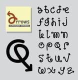 Símbolo del alfabeto de las flechas Imagen de archivo libre de regalías